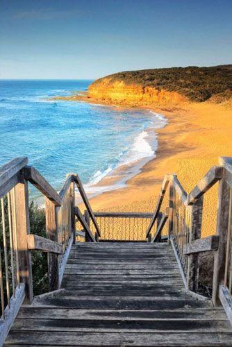 Shore, Ocean, Sea, Sky, Natural landscape, Coast, Stairs, Boardwalk, Beach, Bay,