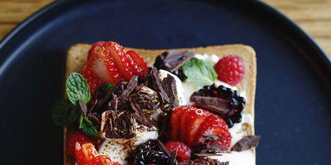 Dish, Food, Cuisine, Ingredient, Breakfast, Strawberry, Goat cheese, Dessert, Baked goods, Finger food,