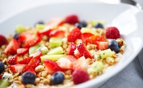 Dish, Food, Cuisine, Fruit salad, Ingredient, Breakfast cereal, Breakfast, Meal, Vegetarian food, Salad,
