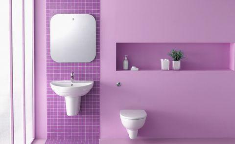 Purple, Toilet, Bathroom, Violet, Plumbing fixture, Wall, Room, Pink, Lilac, Tile,