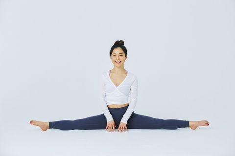 Physical fitness, Shoulder, Arm, Sitting, Leg, Joint, Sportswear, Yoga, Standing, Yoga mat,