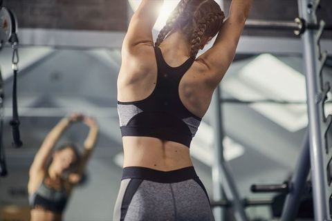 Physical fitness, Undergarment, Shoulder, Muscle, Undergarment, Sportswear, Arm, Sports bra, Joint, Leg,