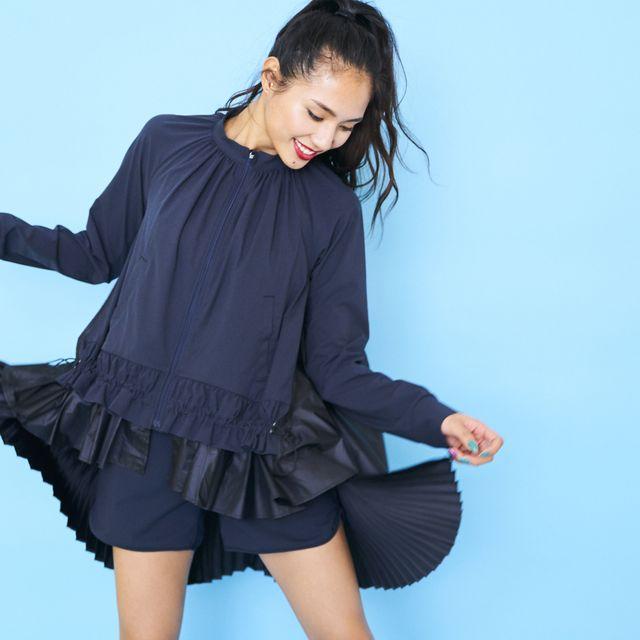 Clothing, Blue, Black, Sleeve, Ruffle, Fashion, Arm, Blouse, Outerwear, Textile,