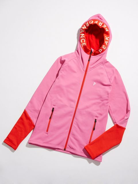 Clothing, Jacket, Outerwear, Hood, Red, Sleeve, Pink, Windbreaker, Zipper, Hoodie,