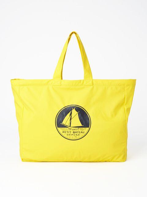 Bag, Handbag, Yellow, Tote bag, Product, Fashion accessory, Shoulder bag, Font, Luggage and bags, Smile,