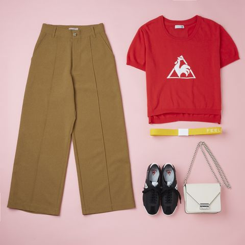 Clothing, Yellow, Trousers, Sleeve, Jeans, Pocket, Sportswear, Active pants, Shorts, Button,