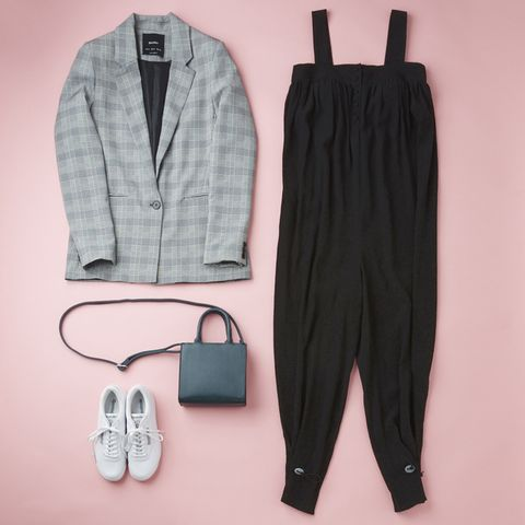Clothing, Outerwear, Footwear, Trousers, Suit, Blazer, Dress, Overall, Sleeve, One-piece garment,