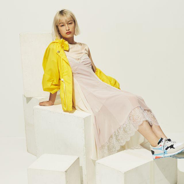 White, Yellow, Fashion, Sitting, Footwear, Fashion design, Leg, Photography, Photo shoot, Dress,
