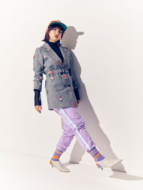 Clothing, Fashion, Outerwear, Fashion model, Jacket, Waist, Shoulder, Jeans, Coat, Footwear,