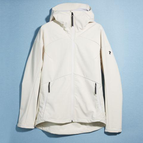 Clothing, Jacket, Outerwear, White, Hood, Sleeve, Beige, Coat, Top,
