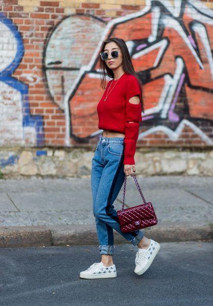 Clothing, Jeans, Street fashion, Denim, Red, Fashion, Electric blue, Footwear, Snapshot, Shirt,