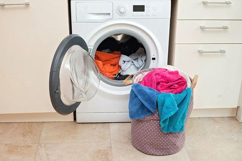 Washing machine, Laundry, Clothes dryer, Laundry room, Major appliance, Washing, Pink, Room, Home appliance, Child,