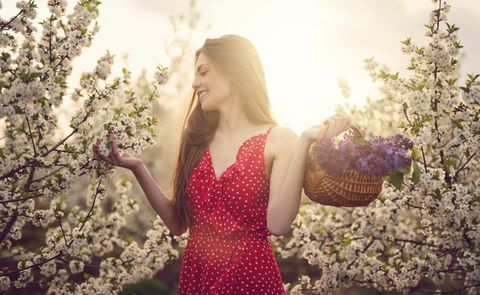People in nature, Photograph, Nature, Spring, Dress, Pink, Light, Beauty, Sunlight, Blond,