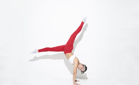 Red, Tumbling (gymnastics), Artistic gymnastics, Gymnastics, Athletic dance move, Sport aerobics, Acrobatics, Flip (acrobatic), Leg, Performance,