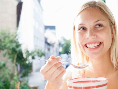 Skin, Smile, Lip, Dairy, Food, Drinking, Food craving, Eating, Breakfast, Happy,