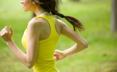 Running, Jogging, Physical fitness, Yellow, Shoulder, Sportswear, Exercise, Recreation, Arm, Athlete,