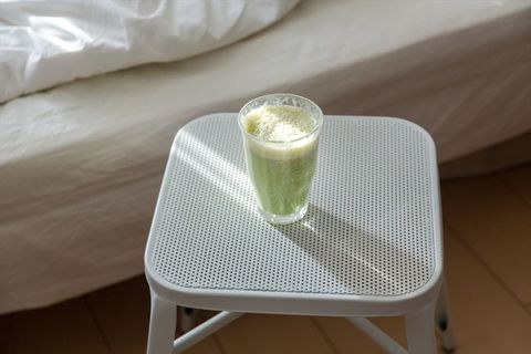 Green, Table, Furniture, Coffee table, Room, Textile, Linens, Stool, Glass, Chair,