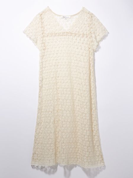 Clothing, White, Day dress, Dress, Sleeve, Lace, Beige, Cocktail dress, Pattern, Cover-up,