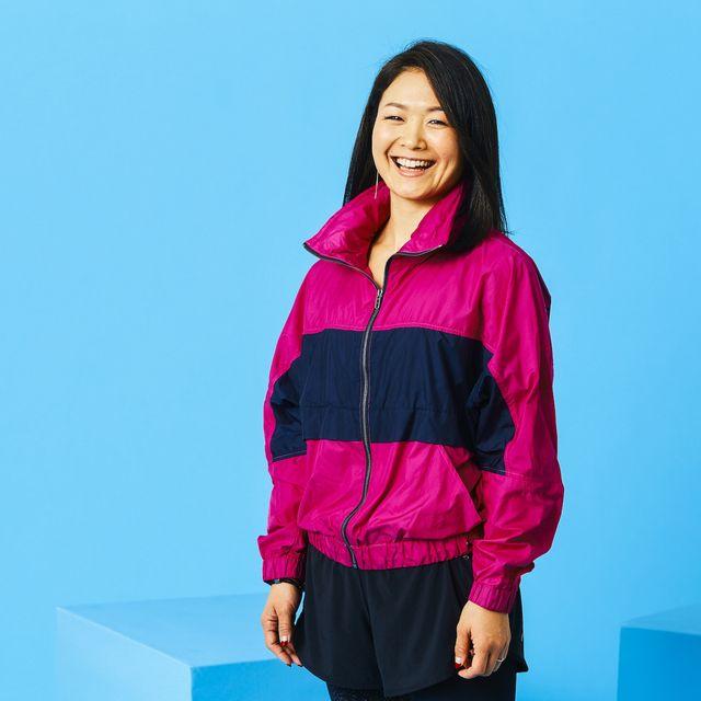 Clothing, Outerwear, Hoodie, Blue, Sleeve, Hood, Jacket, Pink, Shoulder, Standing,