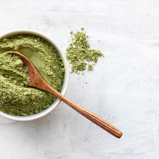Matcha, Mortar and pestle, Superfood, Herb, Seasoning, Food, Spoon, Herbes de provence, Spice, Ingredient,