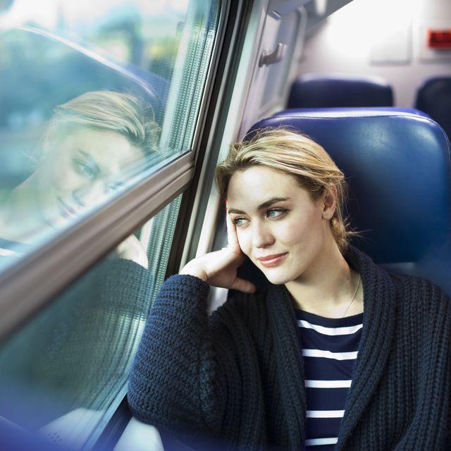 Transport, Hairstyle, Passenger, Public transport, Glass, Travel, Comfort, Street fashion, Blond, Long hair,