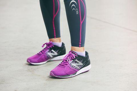 Footwear, Shoe, Pink, White, Sportswear, Purple, Human leg, Leg, Violet, Sneakers,