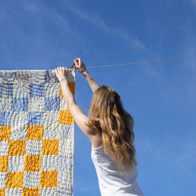 Blue, Sky, Daytime, Yellow, Cloud, Arm, Textile, Summer, Net, Tree,