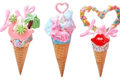 Ice cream cone, Soft Serve Ice Creams, Frozen dessert, Ice cream, Dessert, Cone, Food, Dairy, Gelato, Sorbetes,