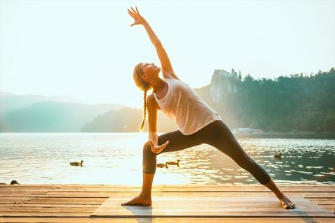 Physical fitness, Yoga, Water, Stretching, Standing, Balance, Morning, Leg, Joint, Contact sport,