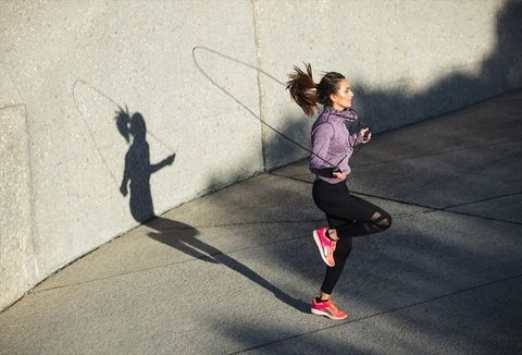 Shadow, Rope, Pink, Running, Wall, Fun, Jumping, Skipping rope, Child, Physical fitness,