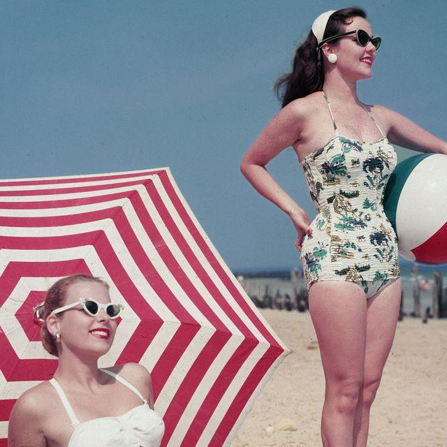 One-piece swimsuit, Clothing, Swimwear, Eyewear, Bikini, Summer, Beauty, Vacation, Sunglasses, Retro style,