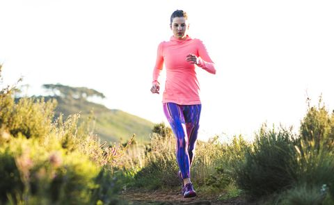 Running, Jogging, Outdoor recreation, Pink, Recreation, Atmospheric phenomenon, Exercise, Trail, Individual sports, Athlete,