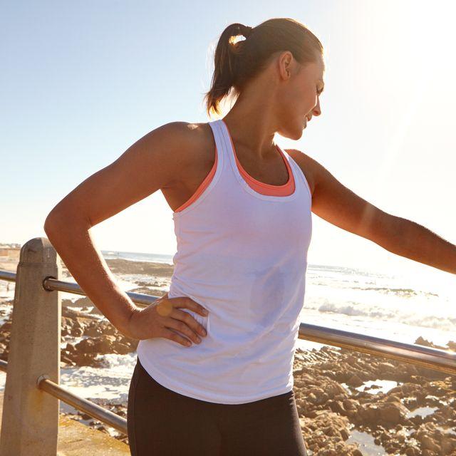 Human body, Shoulder, Elbow, Sleeveless shirt, Standing, Undershirt, Summer, People in nature, Waist, Active tank,