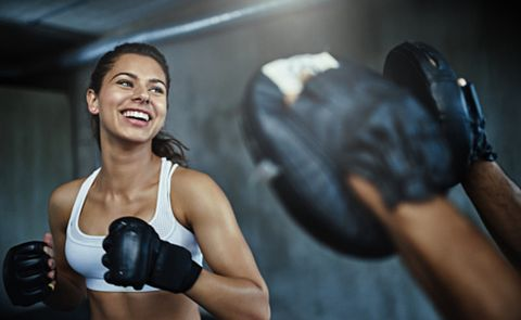 Boxing glove, Boxing, Muscle, Arm, Physical fitness, Shoulder, Glove, Kickboxing, Hand, Sports training,