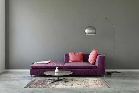 Furniture, Couch, Room, Purple, Interior design, Violet, Floor, Wall, Living room, Sofa bed,