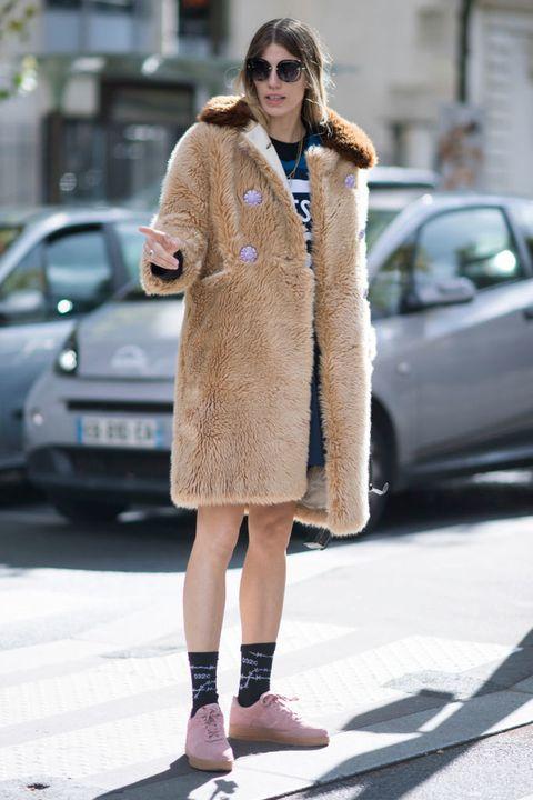 Clothing, Street fashion, Fur, Coat, Fashion, Snapshot, Footwear, Fur clothing, Outerwear, Overcoat,