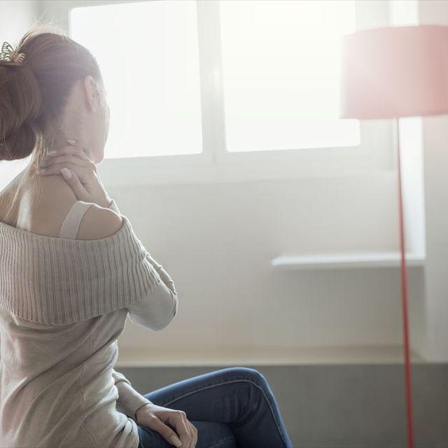 White, Sitting, Shoulder, Pink, Room, Joint, Leg, Furniture, Dress, Interior design,