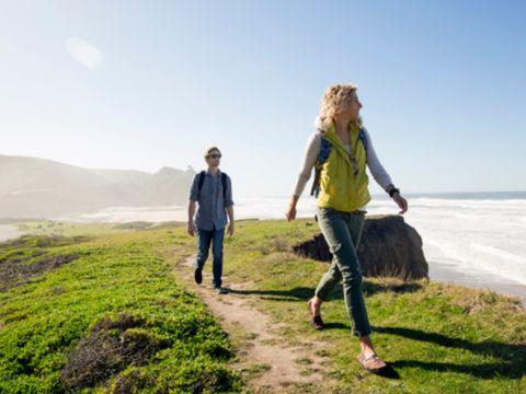 People in nature, Photograph, Coast, Grass, Fun, Sky, Sea, Vacation, Grassland, Walking,