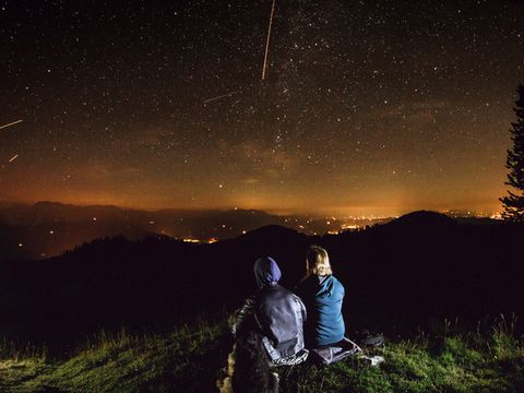Sky, People in nature, Photograph, Night, Star, Tree, Atmosphere, Astronomical object, Photography, Cloud,