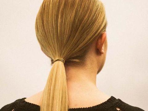 Hair, Hairstyle, Blond, Neck, Chin, Long hair, Hair coloring, Brown hair, Ponytail, Hair tie,