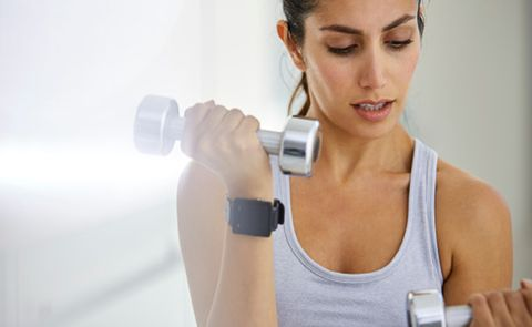 Shoulder, Arm, Skin, Dumbbell, Chin, Muscle, Weights, Joint, Exercise equipment, Chest,