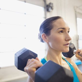 Shoulder, Dumbbell, Chin, Physical fitness, Arm, Muscle, Room, Weight training, Exercise equipment, Neck,