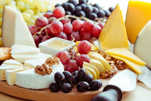 Food, Natural foods, Fruit salad, Cheese, Dish, Cuisine, Ingredient, Brunch, Fruit, Food group,