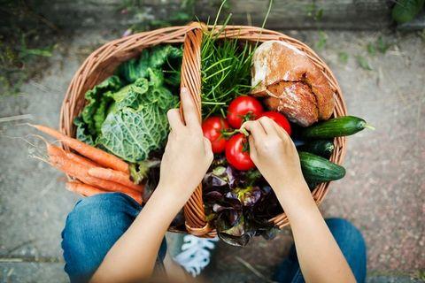 Natural foods, Vegetable, Local food, Radish, Superfood, Grass, Plant, Hand, Wreath, Leaf vegetable,