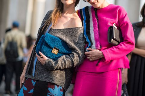 Sleeve, Human body, Textile, Style, Magenta, Street fashion, Bag, Fashion, Fashion model, Luggage and bags,