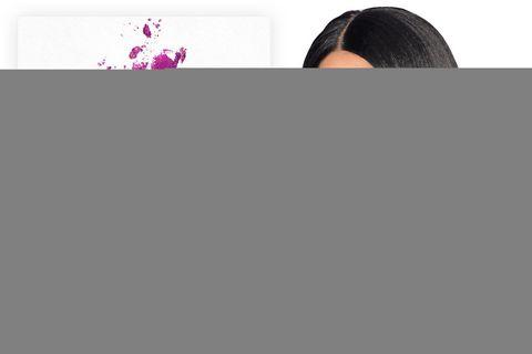 Lip, Hairstyle, Eyebrow, Style, Purple, Magenta, Black hair, Violet, Beauty, Long hair,