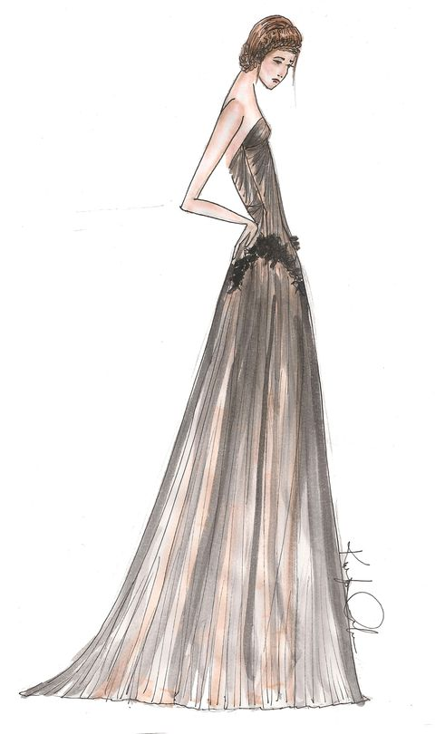 Brown, Hairstyle, Dress, Shoulder, Style, Formal wear, Fashion illustration, Gown, Neck, Liver,