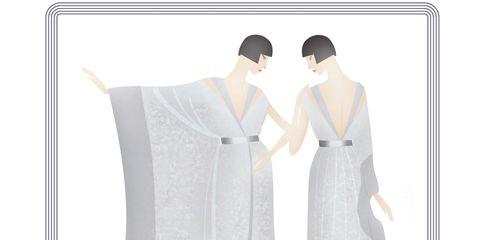Sleeve, Collar, Formal wear, Dress, Pattern, One-piece garment, Fashion, Gown, Grey, Costume design,