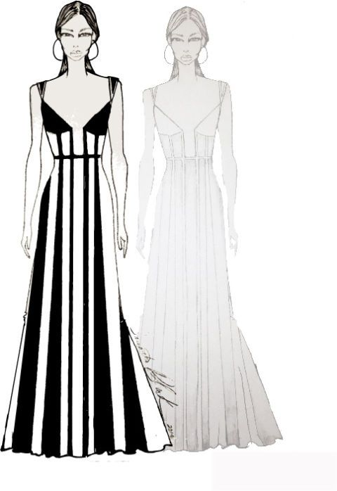 Clothing, Dress, Sleeve, Shoulder, Standing, White, Formal wear, Style, Line, One-piece garment,
