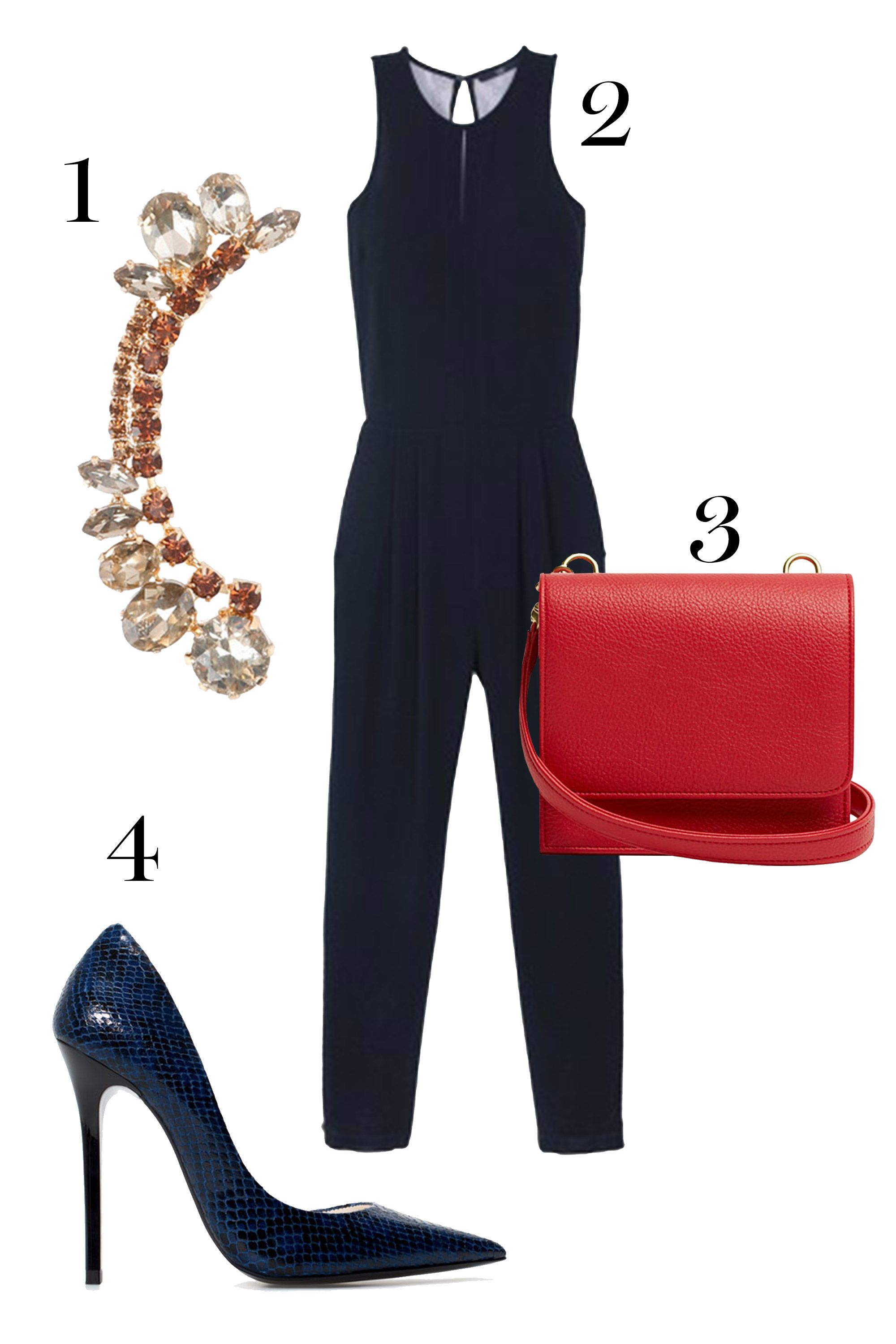 """1. Rue Gembon ear cuff, $70;<a href=""""http://www.ruegembon.com/products/zoey"""">ruegembon.com.</a>  2.Tibi jumpsuit, $495; <a href=""""http://www.tibi.com/shop/features/what-to-wear-for-the-holidays/ringing-in-the-new-year/arden-crepe-lace-jumpsuit"""">tibi.com.</a>  3. Freedom of Animals bag, $200,<a href=""""http://freedomofanimals.com/collections/bag/products/melia-pia-1"""">freedomofanimals.com.</a>  4.Zara heels, $119;<a href=""""http://www.zara.com/us/en/woman/shoes/high-heels/printed-leather-court-shoes-c269195p2195527.html""""> zara.com.</a>"""